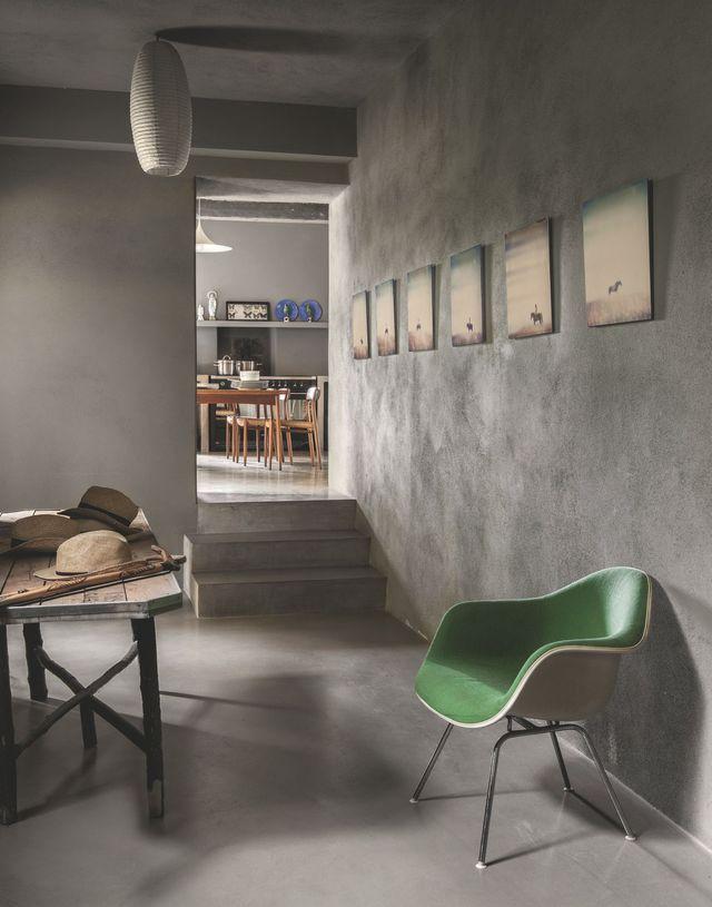 Maison En Corse Rénovée | Concrete, Hallway Flooring And Blue Plates