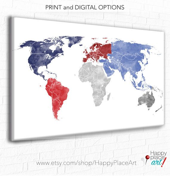 custom colour world map downloadable watercolor map red white and