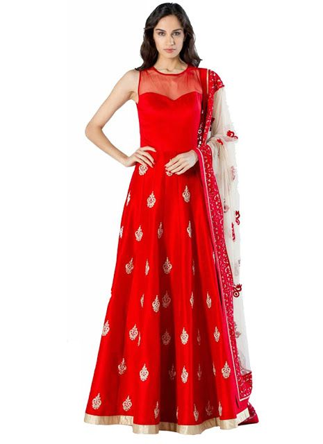 BANGLORI #TAFFETA #SILK #NET #RED #LONG #GOWN Its a red traditional ...