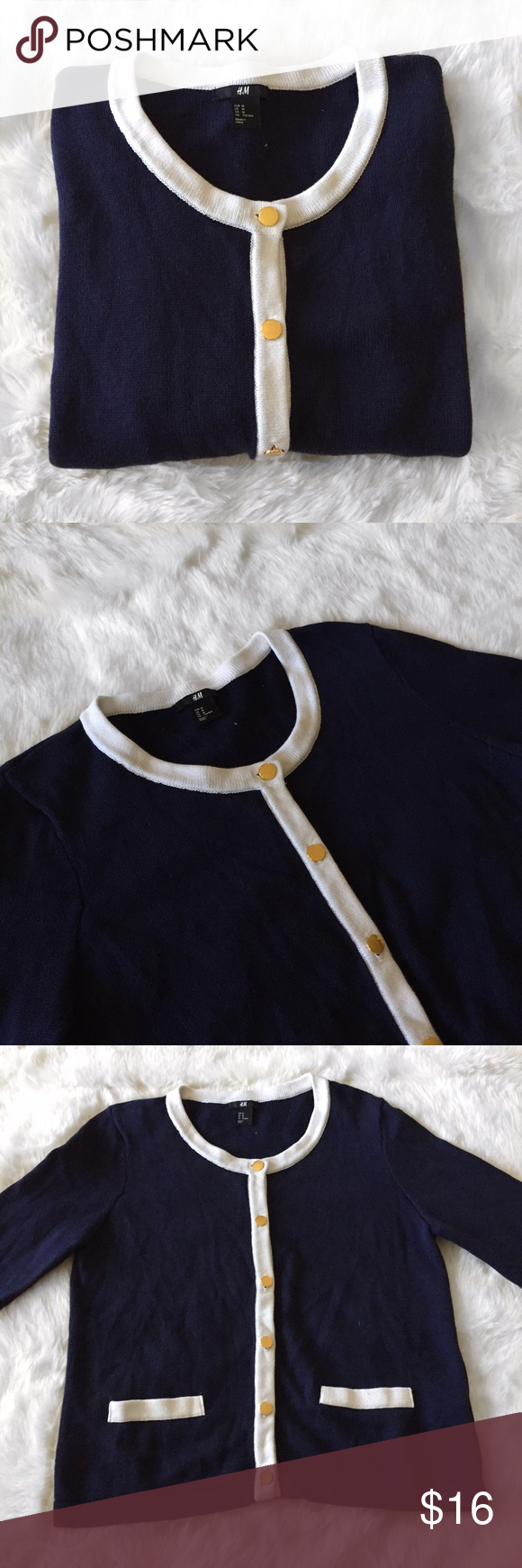 H&M Navy and White Cardigan with Gold Buttons H&M Navy Cardigan ...