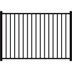 Authentic Aluminum 48 In X 72 In Black Aluminum 2 Rail Fence