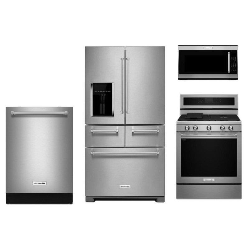 Kitchenaid 4 piece kitchen appliance package stainless