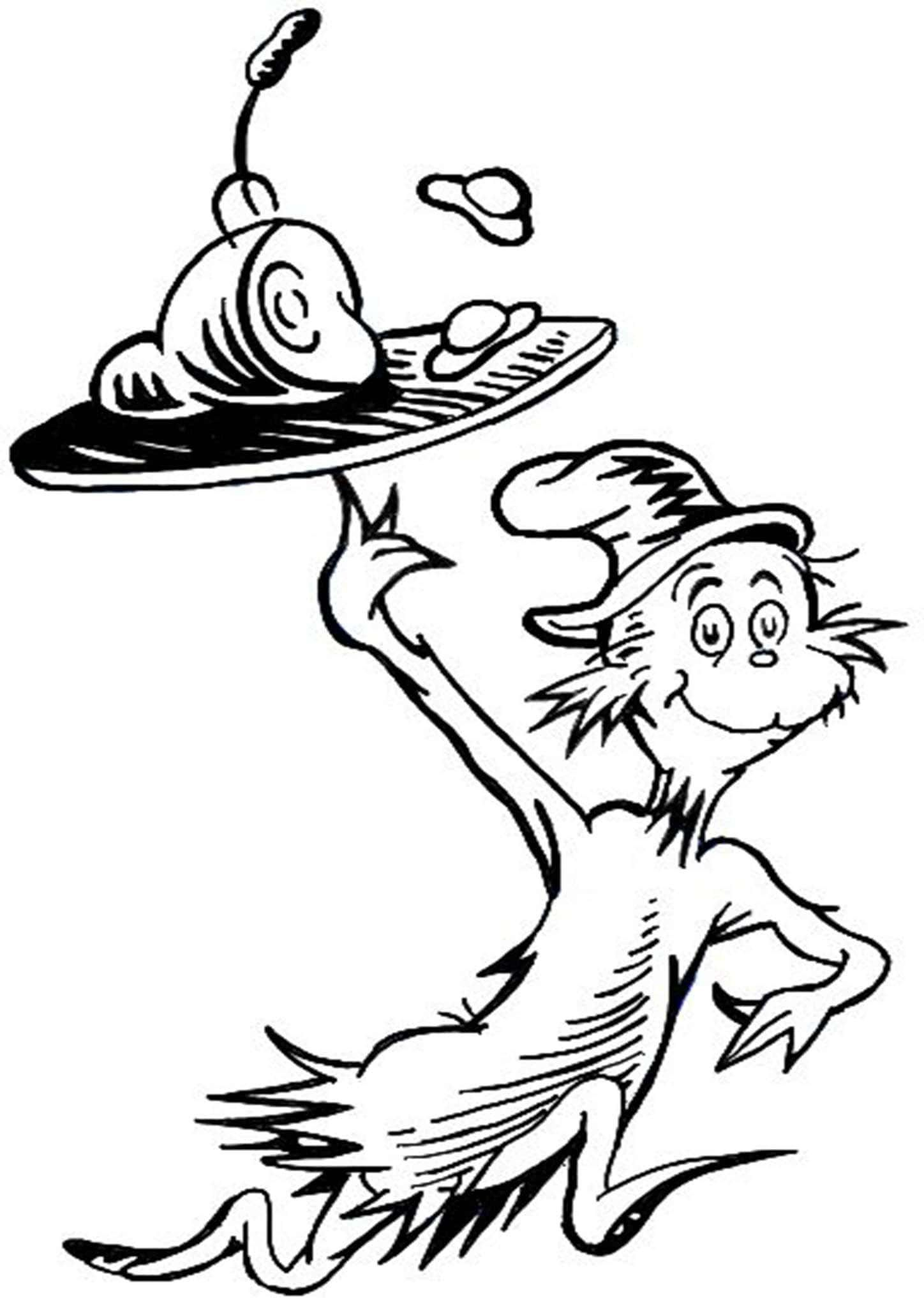 Free Amp Easy To Print Cat In The Hat Coloring Pages In