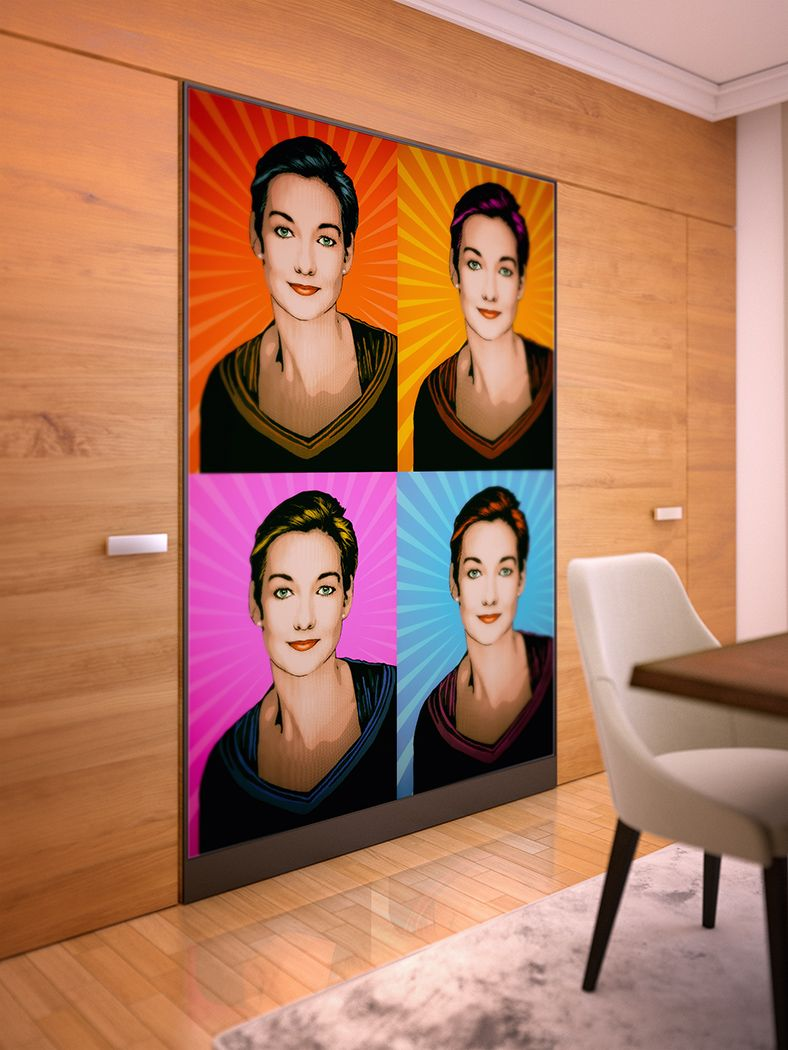 Pop Art Portrait Tanja 110x200cm, Raumteiler Kaschiert, Pop Art Bild Auf  Leinwand, Pop