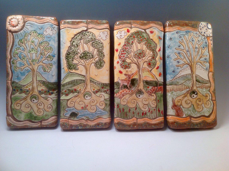 Decorative Tile Art Four Seasons Plaquesfour Seasonsdecorative Tileceramic Tile