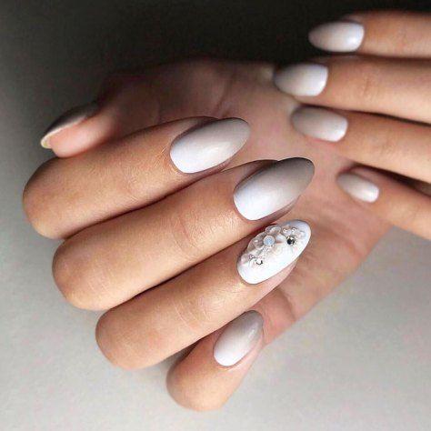 White Nails Designs Beige Matte Ombre Fl