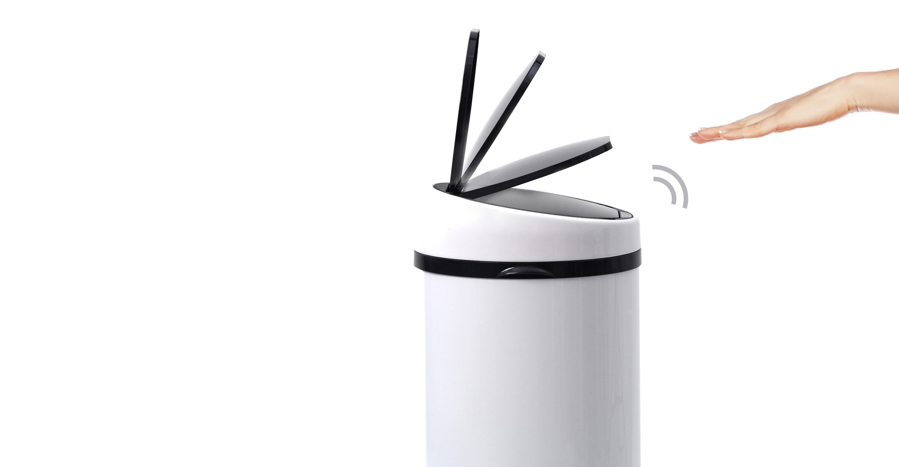 Sense Poubelle Automatique A Capteur 50l Blanc Poubelles