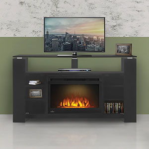 David Electric Fireplace Media Console W Acrylic Ice In Smoke