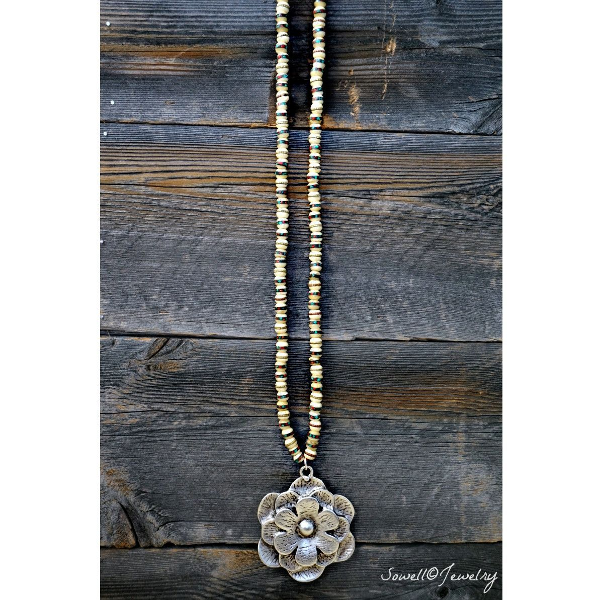 Silver Lotus Bead Necklace