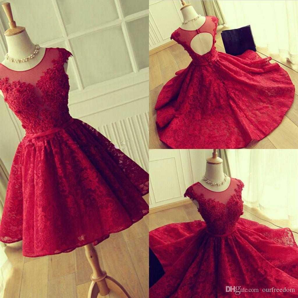 Real image crew neck lace short homecoming dresses hollow back