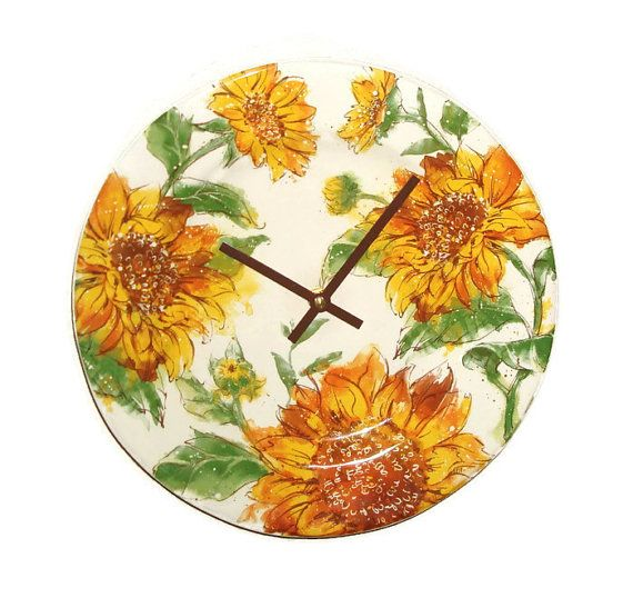 Gold And Brown Sunflower Wall Clock, Inch Floral Ceramic Plate Clock, Kitchen  Clock, Living Room Clock, Autumn Colors   1933