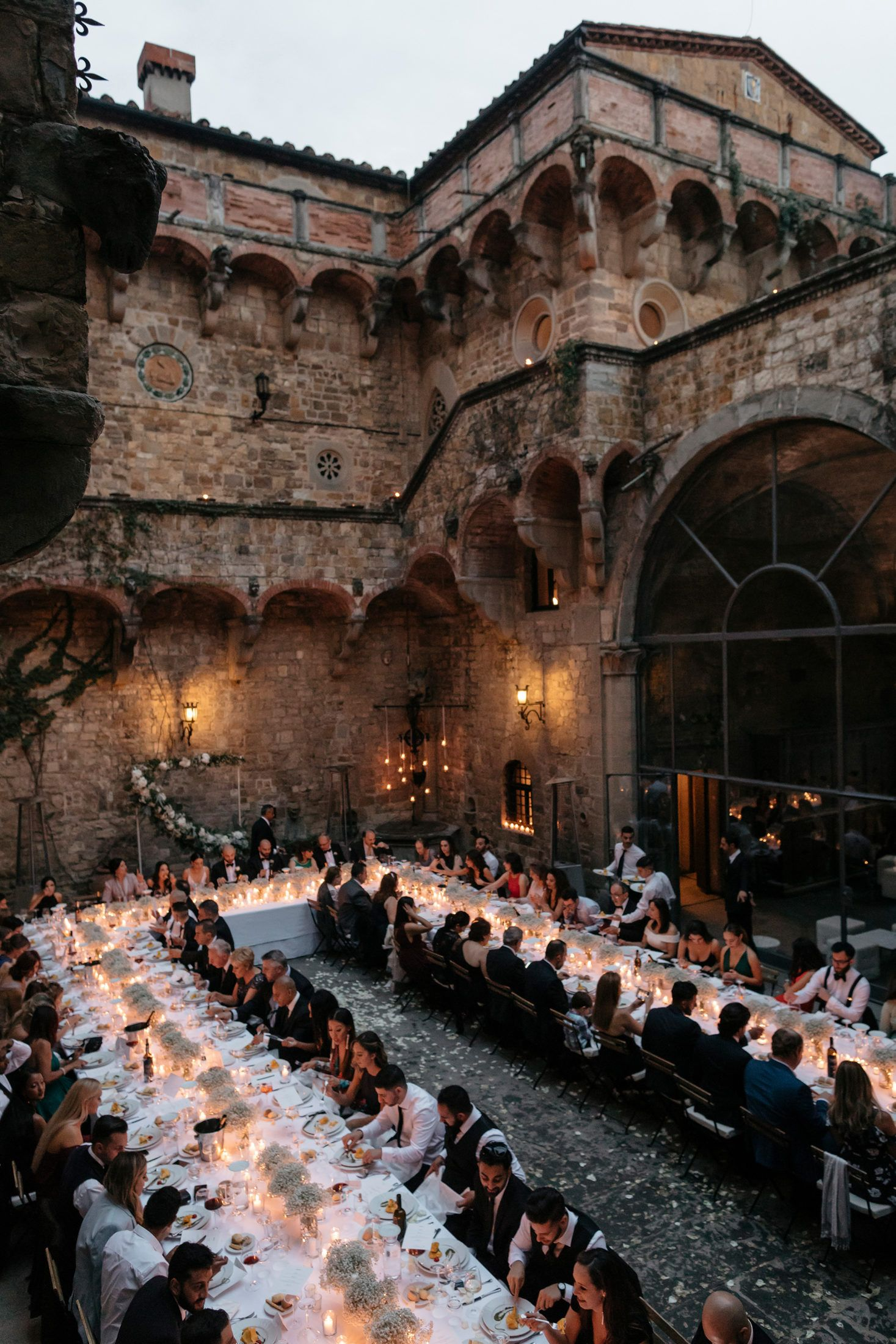 A poetic castle wedding in florence in 2020 courtyard