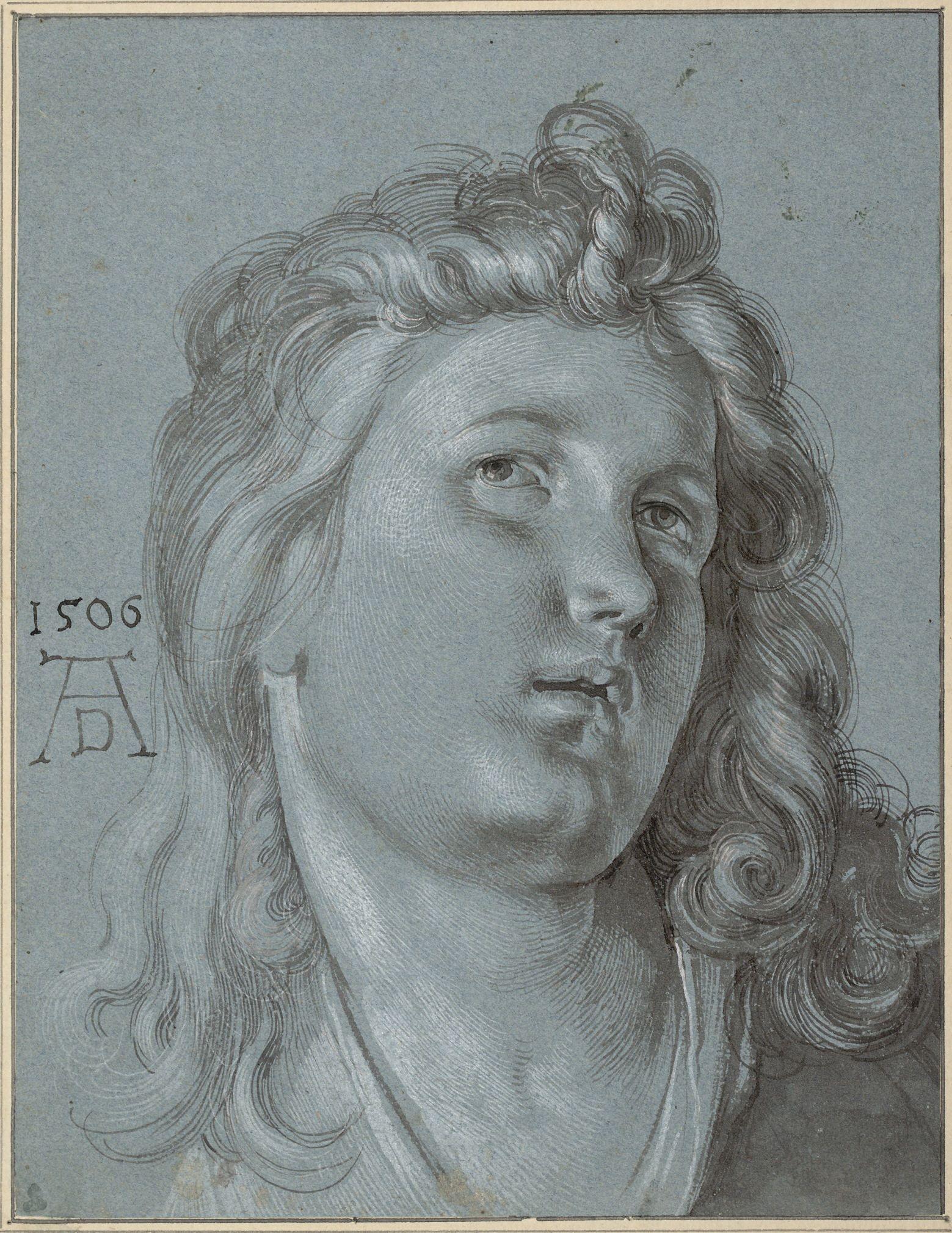"""Albrecht Dürer   Kopf des Laute spielenden Engels (Detail aus dem """"Rosenkranzfest"""") - Head of an angel (Detail of the """"Rosenkranzfest"""")   1506   © Albertina, Wien"""