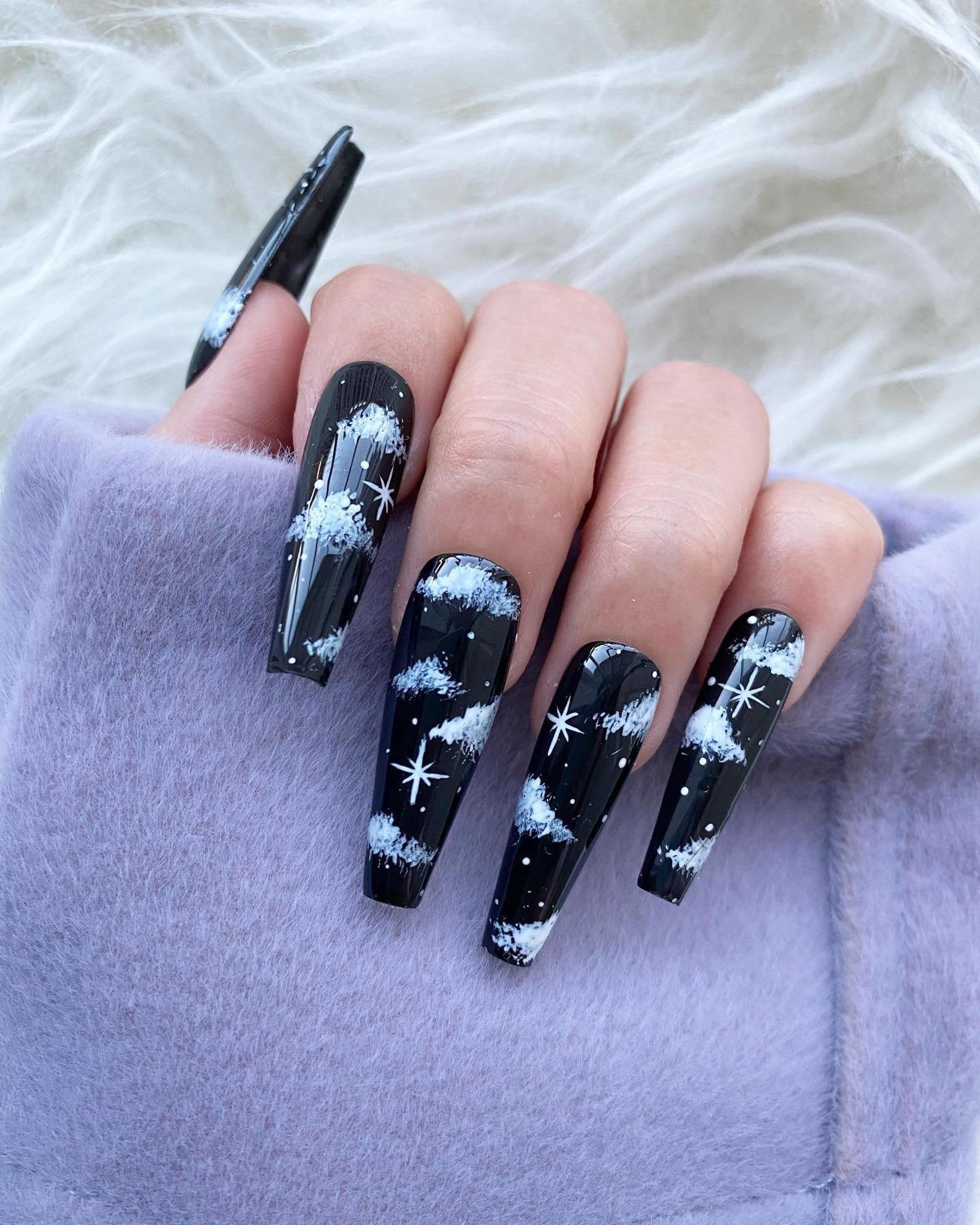 Reusable Black Night Cloud Press On Nails