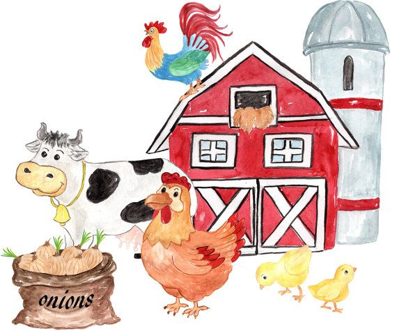 Farm Animals Clipart Farm Clip Art Watercolor Etsy In 2021 Barnyard Animals Farm Animals Birthday Party Watercolor Animals