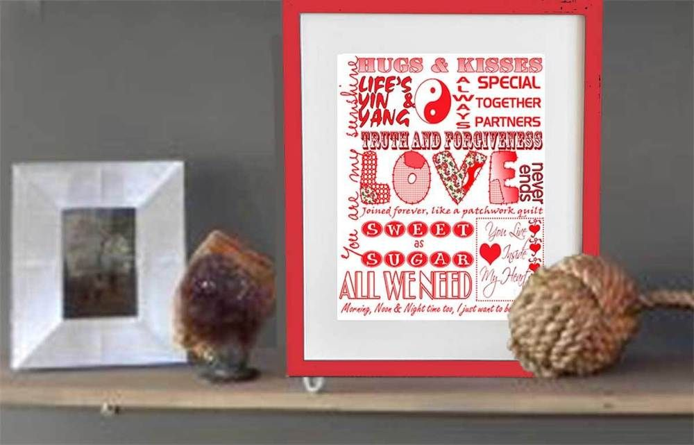 Get a jump on Valentines Day. This beats a greeting crd hands down!  Impress your lov e one.  Order Early.  #Ebay #Etsy Subway Art HOME Decor LOVE and LIFE red printed and ready for framing