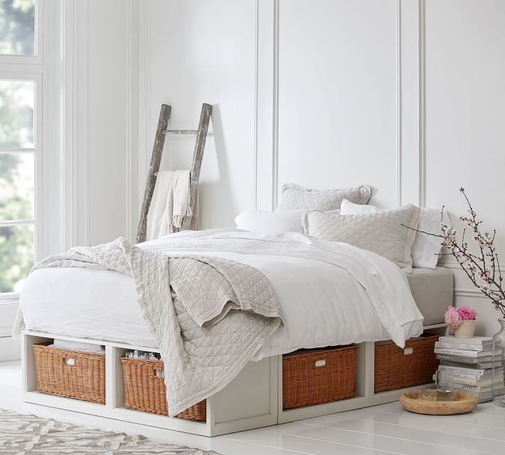 Stratton Storage Platform Bed With Baskets In 2020 Bed Frame With Drawers Bed Frame With Storage Bed With Drawers