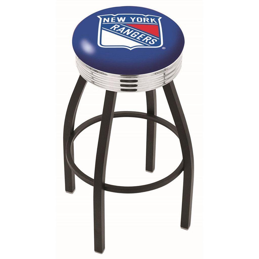 New York Rangers Chrome Swivel Stool Ribbed Ring