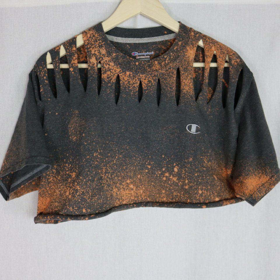 0002b5f830 Custom Grey Splatter Bleached Champion Crop Free US Shipping PM for  international rate Originally men's size large, could fit girls up to this  size ...