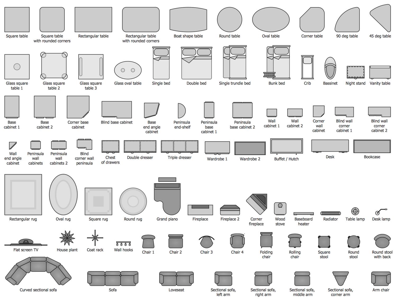 Design Elements Basic Furniture In 2021 Floor Plan Symbols Floor Plans Floor Plan Design