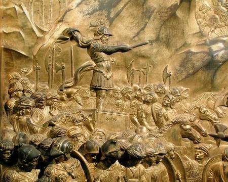 Image Lorenzo Ghiberti - The Story of David and Goliath detail of Saul & Image: Lorenzo Ghiberti - The Story of David and Goliath detail of ...