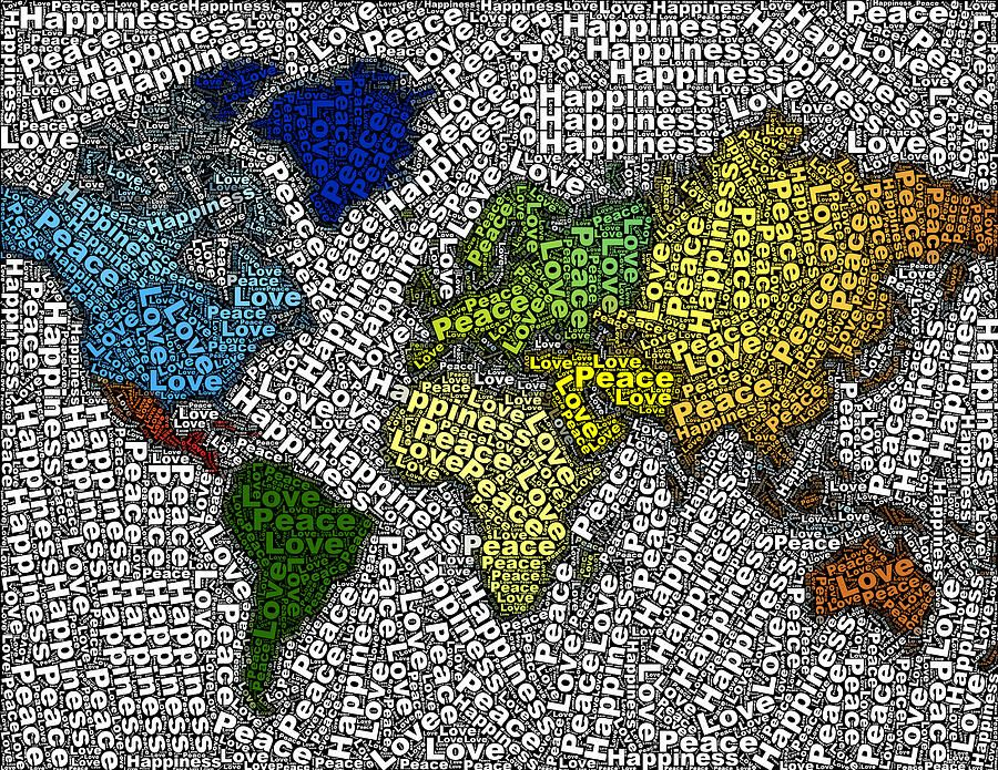 Peace love happiness world map mosaic canvas print canvas art by peace love happiness world map on fineartamerica by paul van scott gumiabroncs Gallery