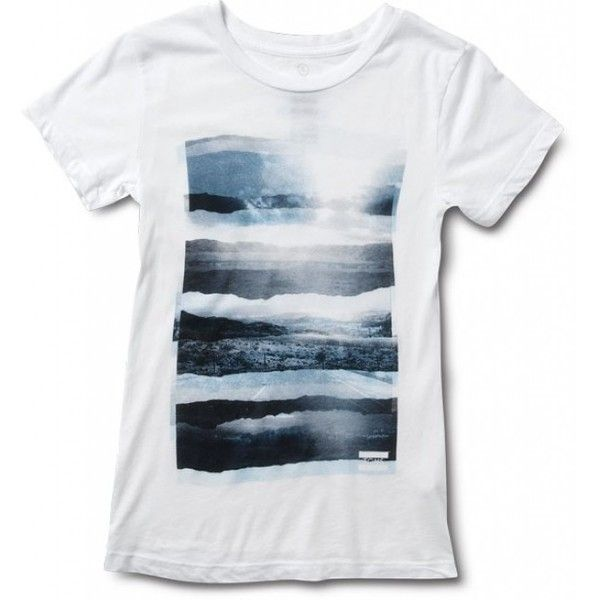 TOMS Women's Landscape White Tee XL ($28) ❤ liked on Polyvore featuring tops, t-shirts, shirts, tees, women, tee-shirt, t shirts, slim tee, slim fit tee and toms shirt