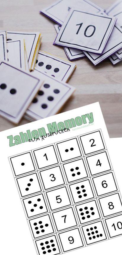Zahlenmemory bis 10 selber basteln zum ausdrucken pins von familinchen - Memory selber machen ...