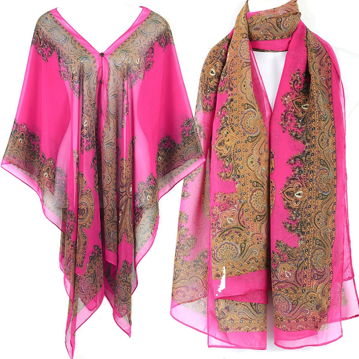 c2bd822ef5 Charm Kaftan Caftan Tunic Dress Wing Blouses Scarf Beach Cover Up Pink  Ts32P1