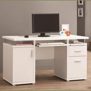 Useful White Computer Desk With File Cabinet   Student White Computer Desk  With Drawer   Furniture   596