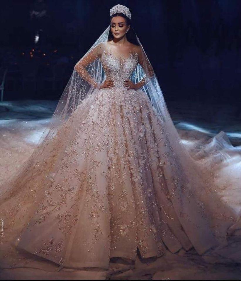 Royal Long Sleeve Lace Applique Crystal Flowers Wedding Dress