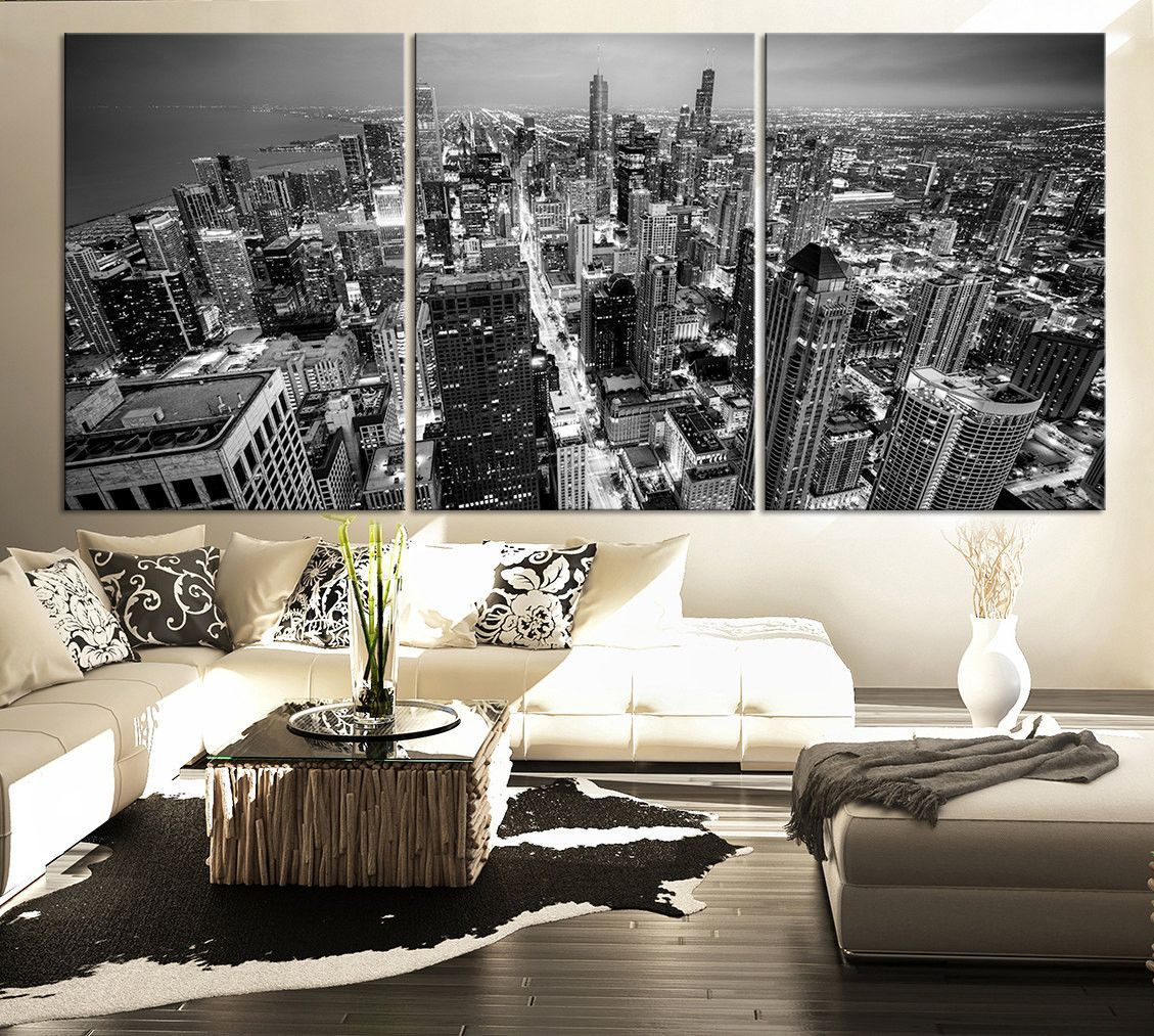 Large Wall Art Canvas Print Black And White Chicago Skyline  3 Captivating Large Artwork For Living Room Decorating Design