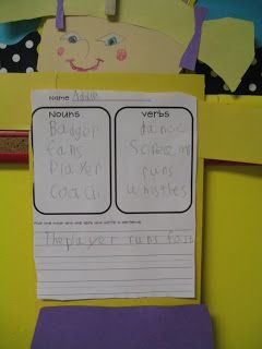First Grade Shenanigans: Nouns and Verbs