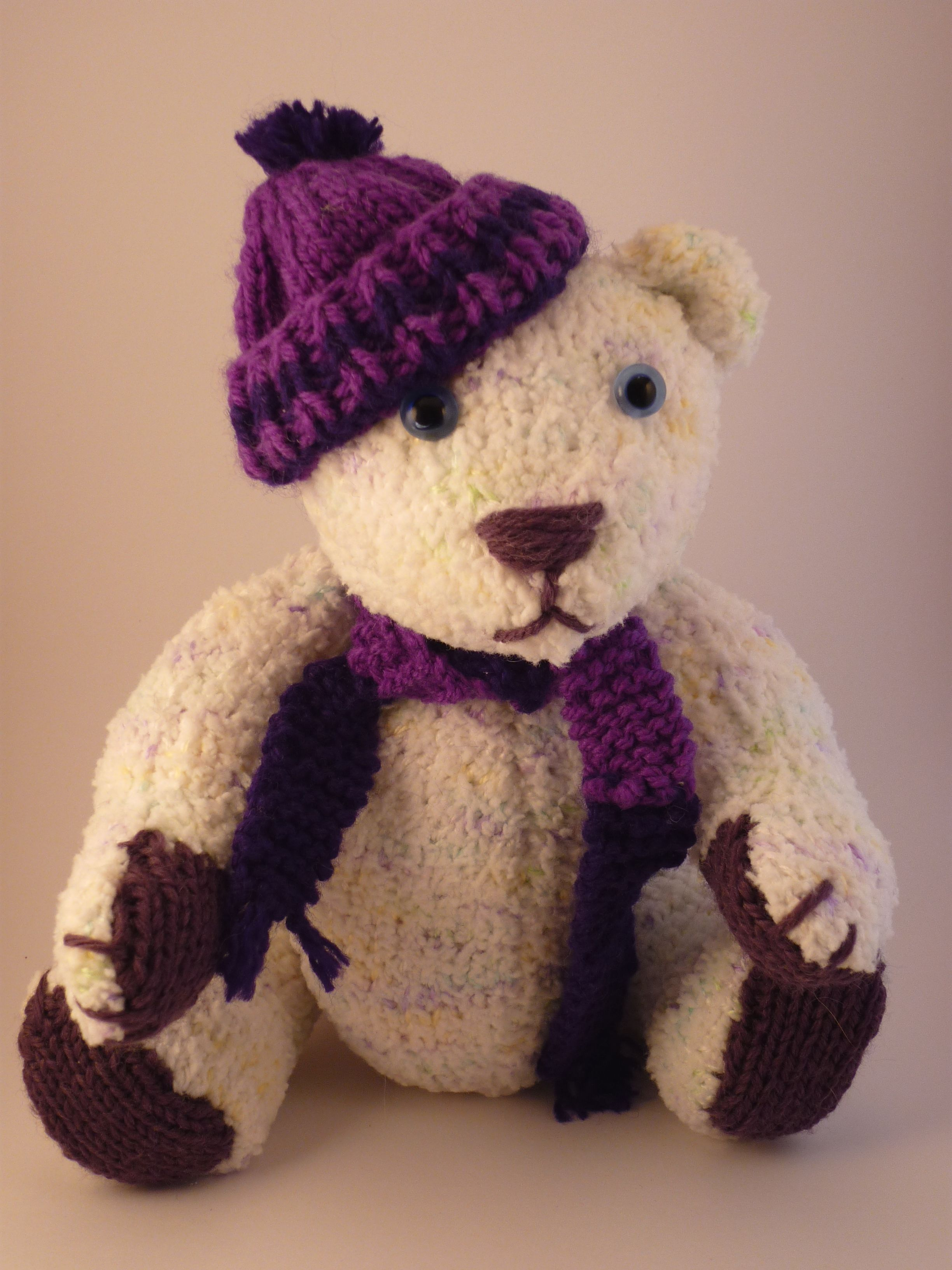 A knitted bear. Pattern is from the book \