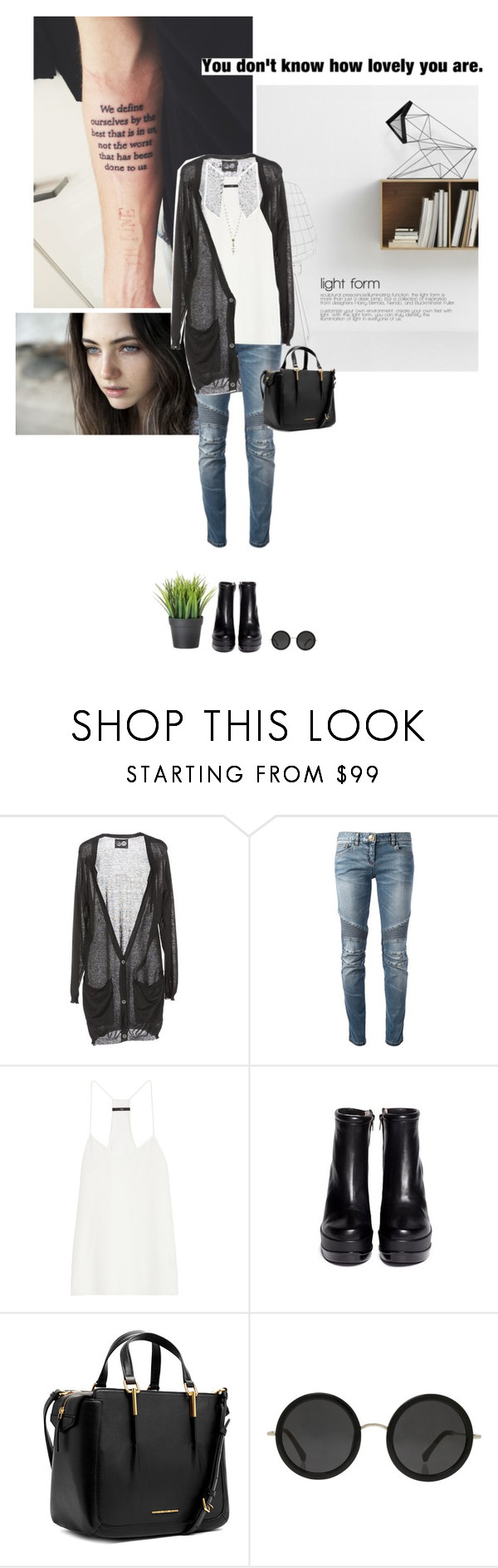 """""""""""Be soft. Do not let the world make you hard. Do not let pain make you hate. Do not let the bitterness steal your sweetness."""" -Kurt Vonnegut"""" by are-you-with-me ❤ liked on Polyvore featuring Cheap Monday, Balmain, TIBI, Robert Clergerie, Marc by Marc Jacobs, The Row and Links of London"""
