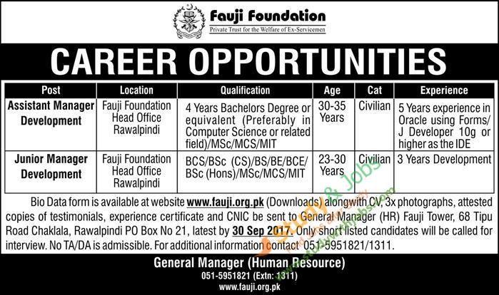 Jobs Vacancies in Fauji Foundation 10th September 2017 Jobs In - staff accountant job description