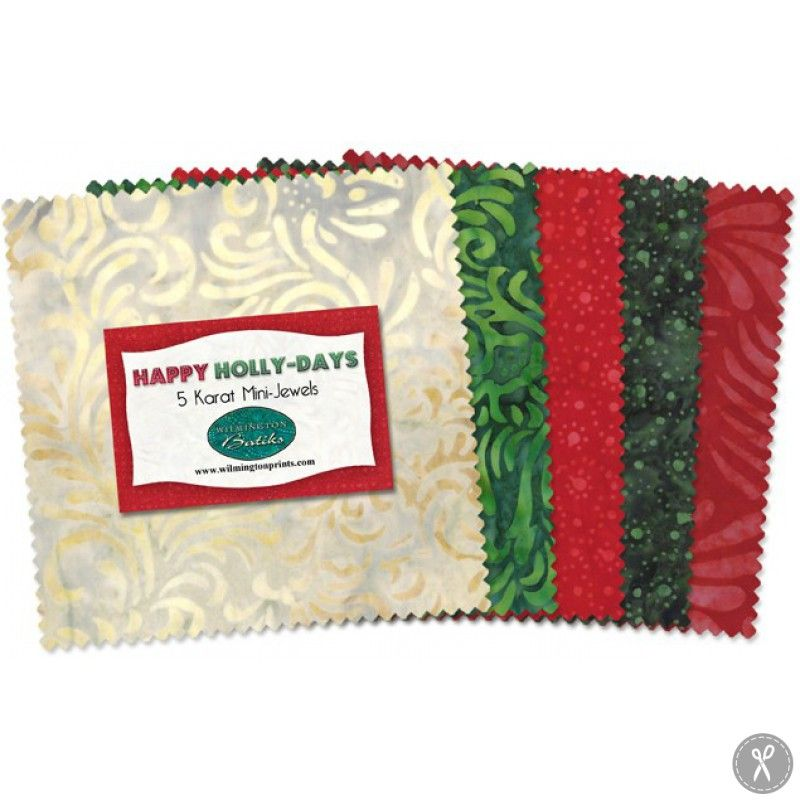 Happy Holly-Days 5 Karat Mini-Jewels Precut Fabric Squares fabric