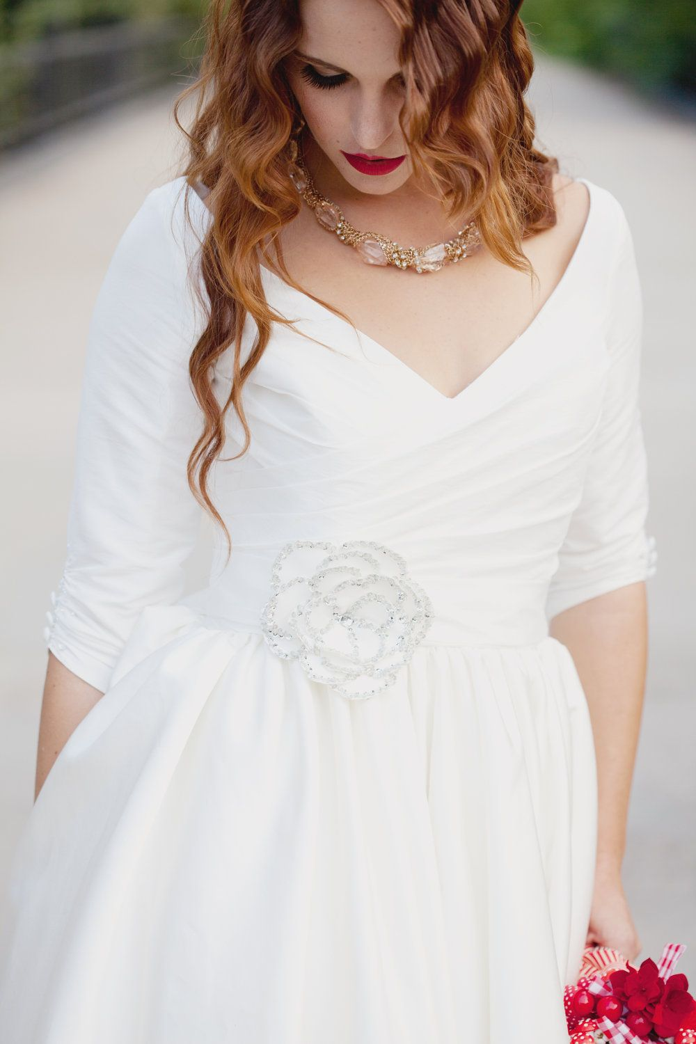 Short wedding dress with sleeves and pockets janie jones one day