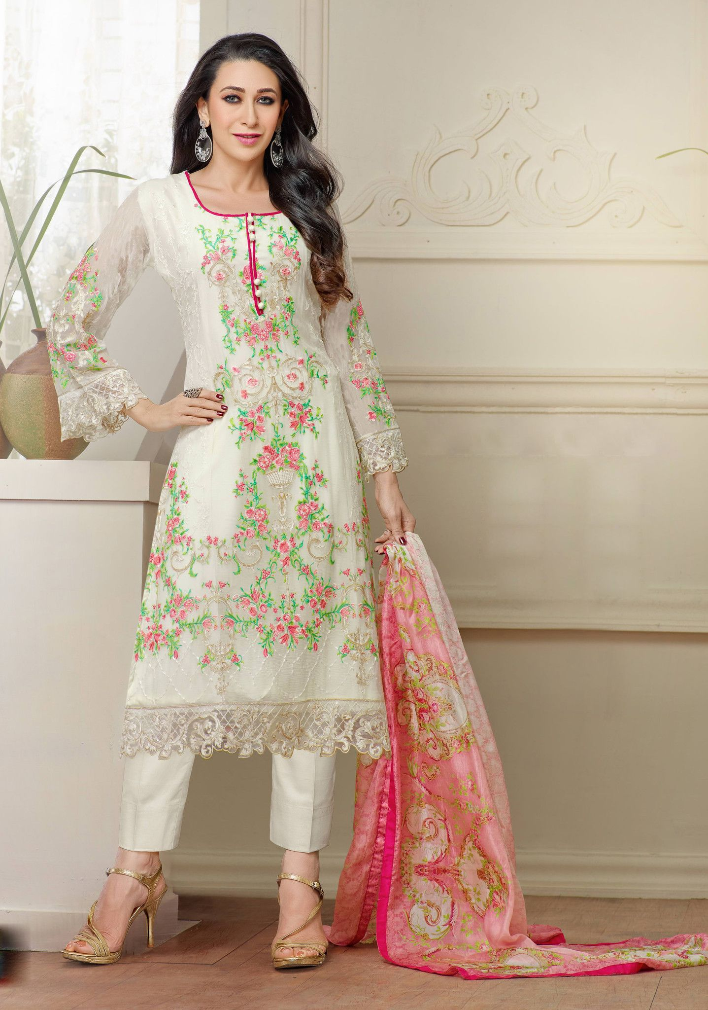 White Embroidered Designer Suits | Dresses | Pinterest