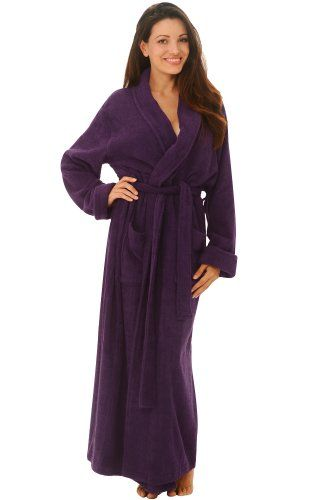 Women`s Luxurious Terry Cotton Full Length Bathrobe Robe ff123e7b3