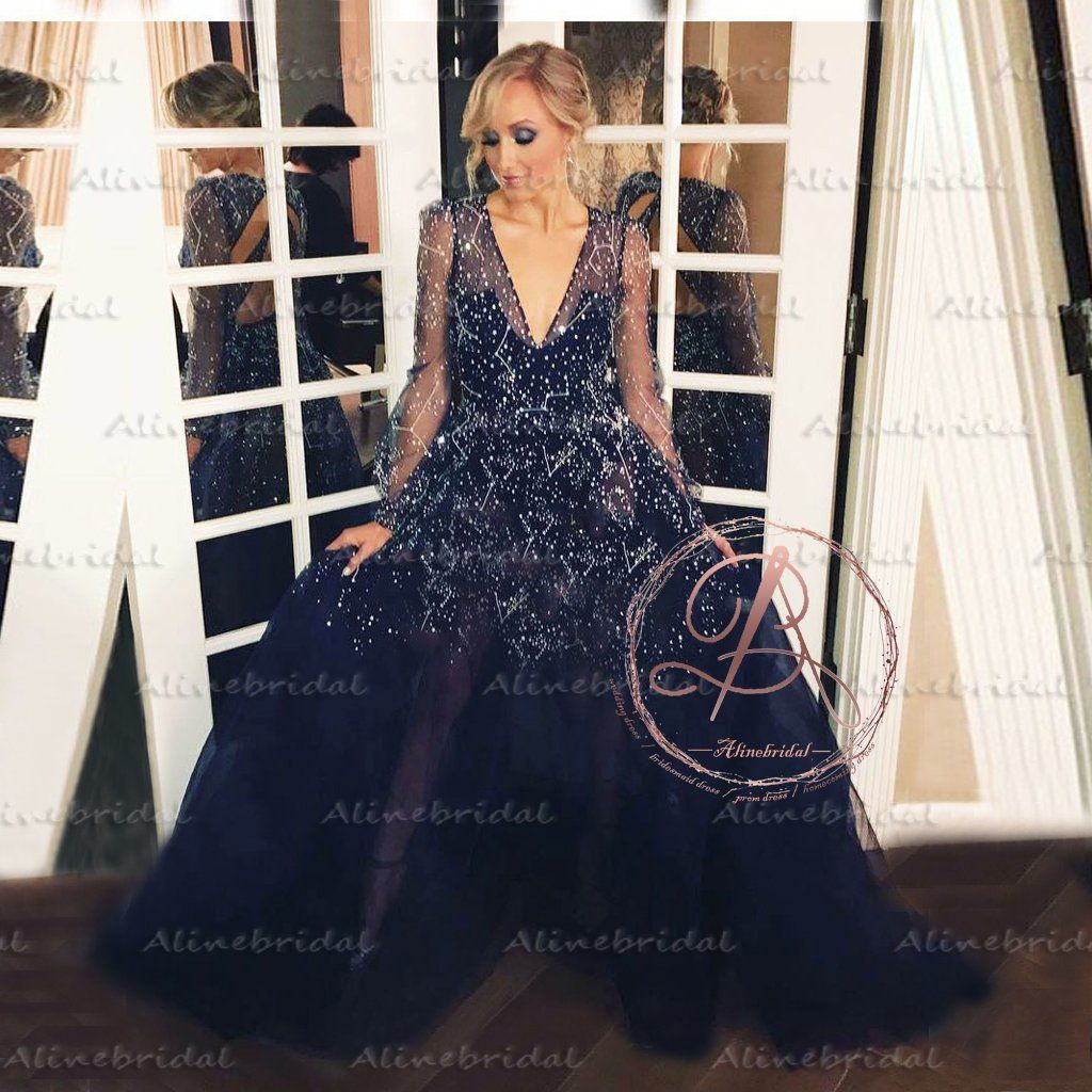 01683b51d75 Fashion Shinning Night Star Sequins Long Sleeve V-neck Sexy Prom Gown  Dresses The prom dresses are fully lined