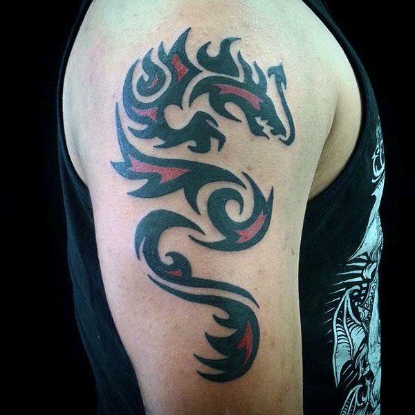 60 Tribal Dragon Tattoo Designs For Men Mythological Ink Ideas Dragon Tattoo Dragon Tattoo Arm Tribal Dragon Tattoo