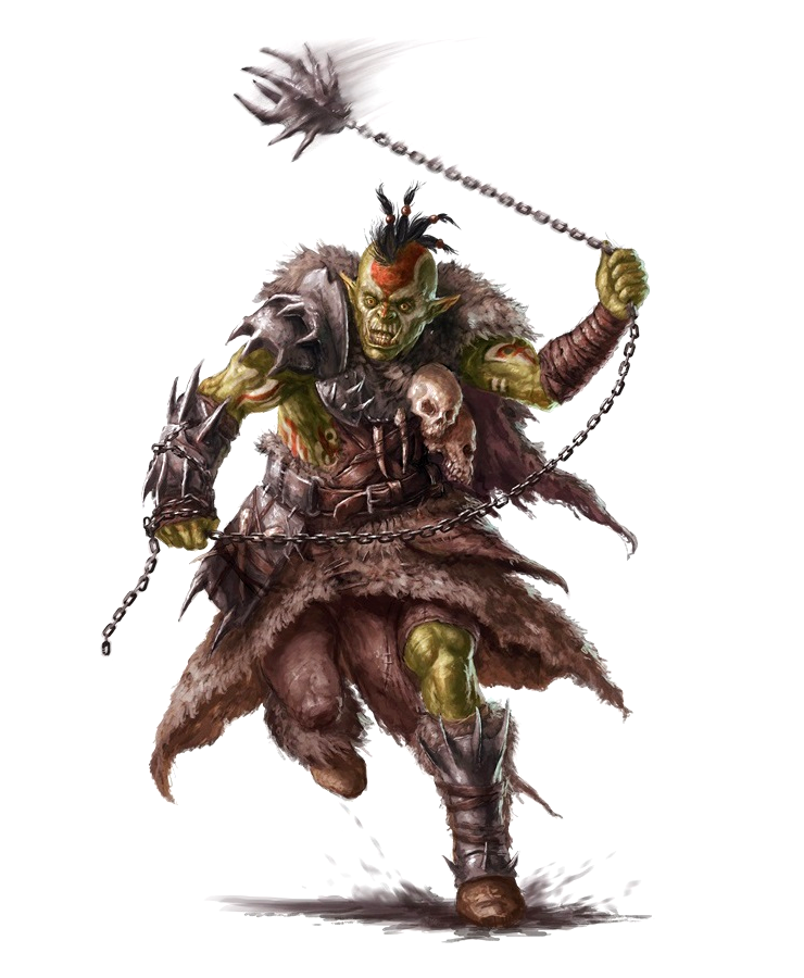 Male Orc Barbarian Chain Weapon - Pathfinder PFRPG DND D&D 3 5 5E