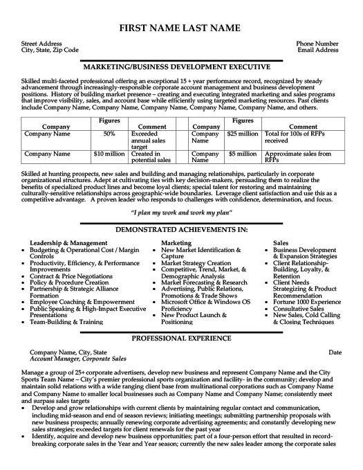 Business Development Executive Resume Template Premium Resume Samples Example Business Resume Marketing Resume Professional Resume Samples