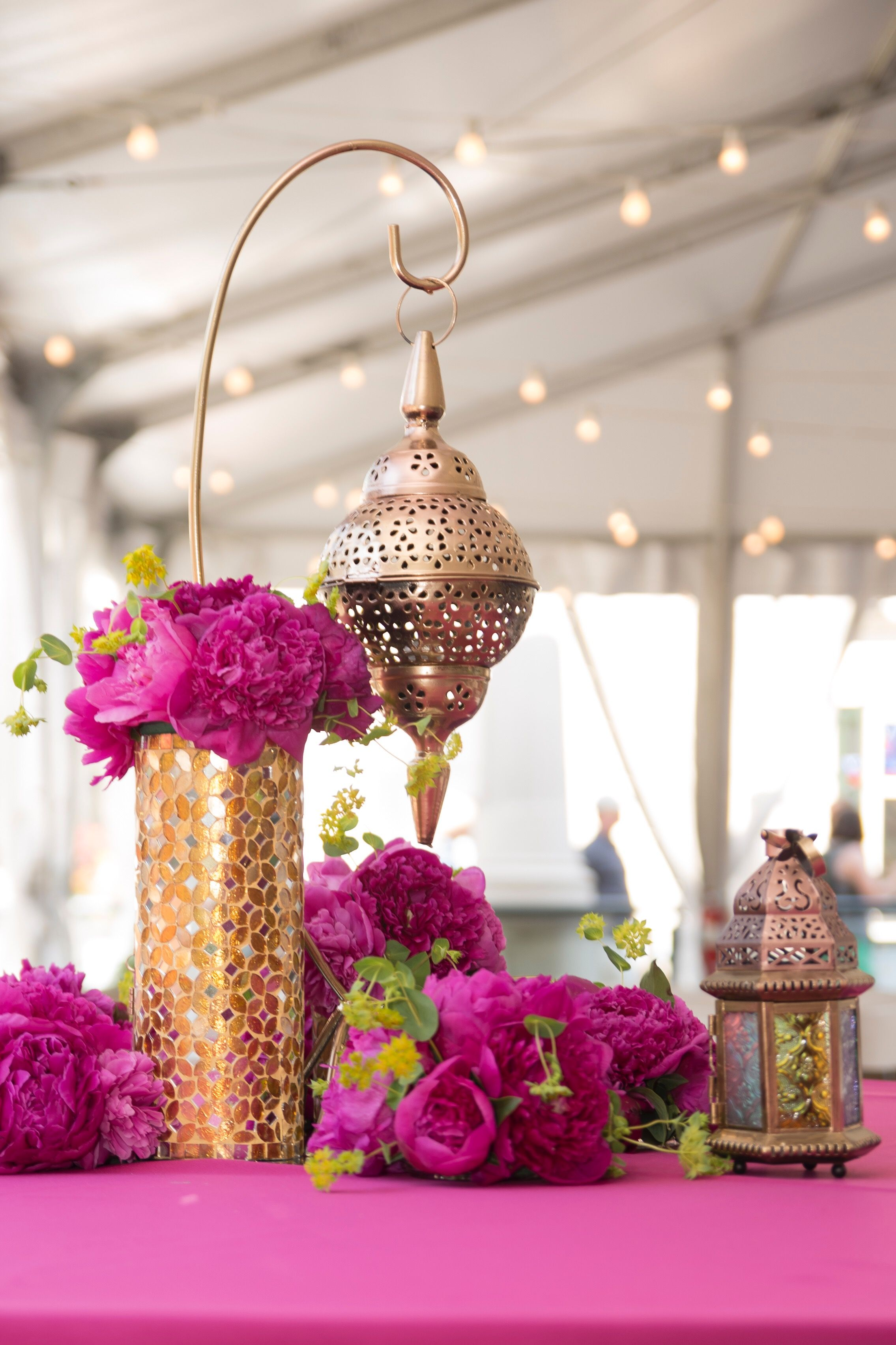Cool Fuchsia Peony Gold Lantern Moroccan Centerpiece 50Th Download Free Architecture Designs Sospemadebymaigaardcom