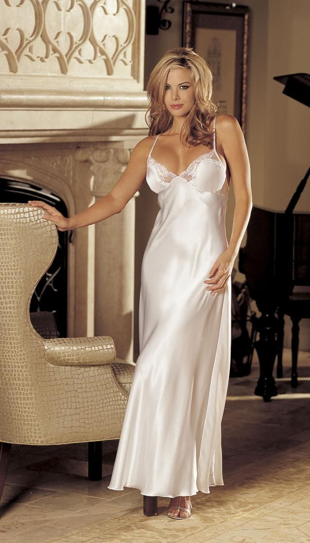 Charmeuse And Lace Long Gown  Dream In Longere  Wedding