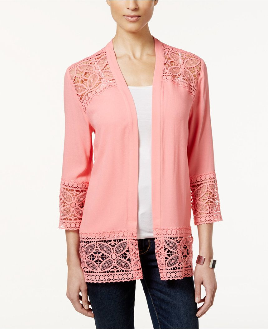 NY Collection Petite Open-Front Lace Cardigan - Sweaters - Women ...