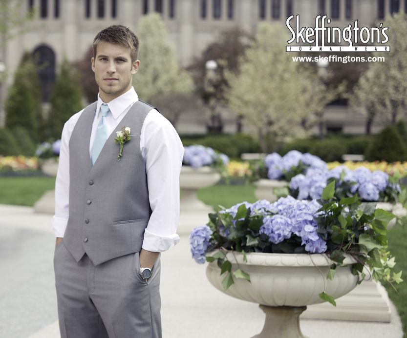 Blue long tie with gray suit pants and gray suit vest. Summer ...