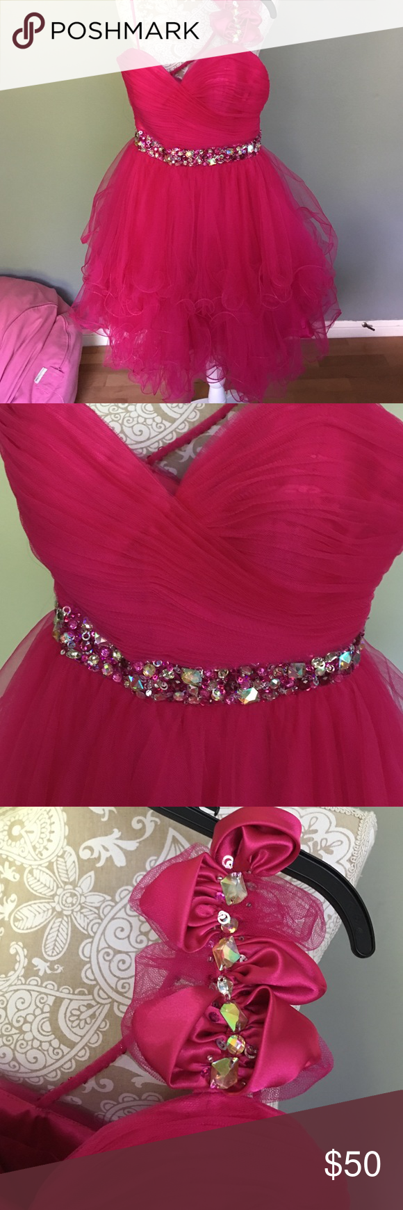 Beautiful prom dress pink tulle tulle dress and hot pink
