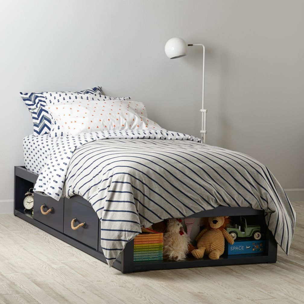Shop topside storage kids bed navy our topside storage navy kids bed features four drawers and various storage cubbies shop for storage kids beds at